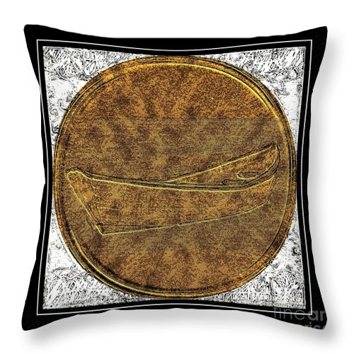 Fishing Dory - Brass Etching Throw Pillow featuring the photograph Fishing Dory - Brass Etching by Barbara Griffin