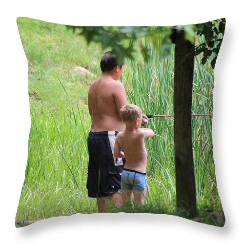 Fishing Throw Pillow featuring the photograph Fishing In My Undies by Robin Vargo