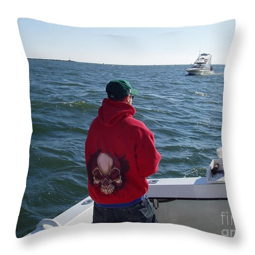 Fishing In Rough Seas Throw Pillow featuring the photograph Fishing In Rough Seas by John Telfer