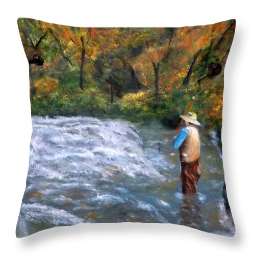 Fly Fisherman Throw Pillow featuring the painting Fishing In The Fall by Gino Didio