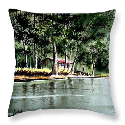 Fishing Throw Pillow featuring the painting Fishing On Lazy Days - Aucilla River Florida by Bill Holkham