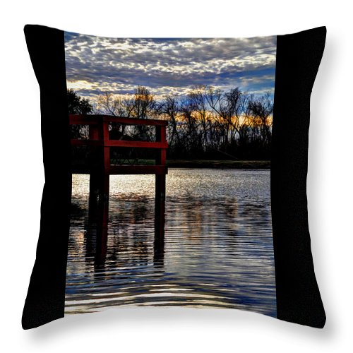 Fishing Throw Pillow featuring the photograph Fishing Pier Sunset by Savannah Gibbs