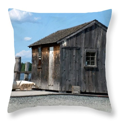 Shed Throw Pillow featuring the painting Fishing Shack On The Mystic River by RC DeWinter