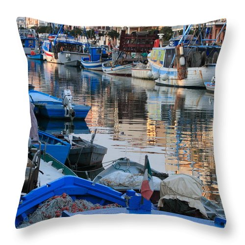 Adriatic Throw Pillow featuring the photograph Fishing Ships In Grado by Ulrich Kunst And Bettina Scheidulin
