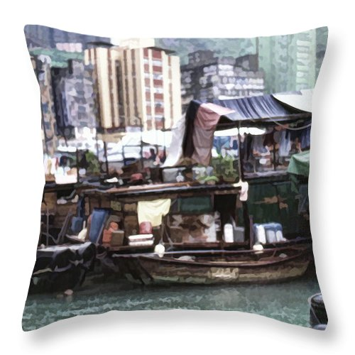 Throw Pillow featuring the photograph Fishing Village Digital Painting by Cathy Anderson