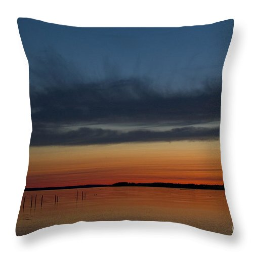 Sunset Throw Pillow featuring the photograph Fishing Weirs by Alana Ranney
