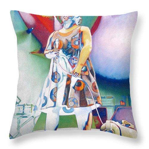 Phish Throw Pillow featuring the drawing John Fishman And Vacuum by Joshua Morton