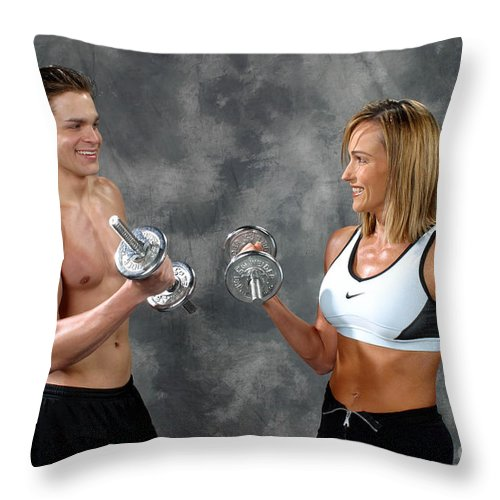 Model Throw Pillow featuring the photograph Fitness Couple 9 by Gary Gingrich Galleries