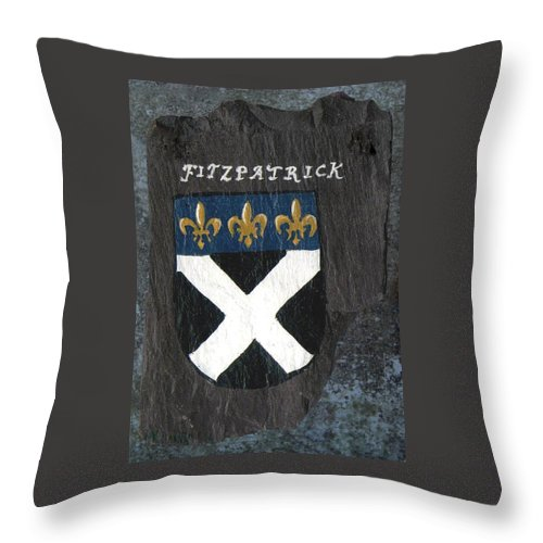 Coat Of Arms Throw Pillow featuring the painting Fitzpatrick by Barbara McDevitt
