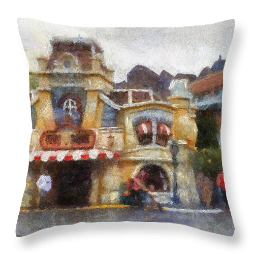 Toontown Disney Land Throw Pillow featuring the photograph Five And Dime Disneyland Toontown Photo Art 02 by Thomas Woolworth