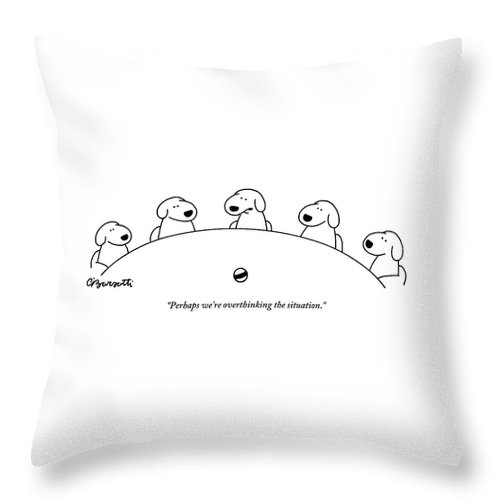 Dogs Throw Pillow featuring the drawing Five Dogs Sitting Around A Roundtable by Charles Barsotti