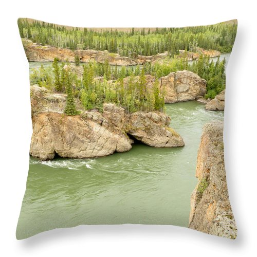 Attraction Throw Pillow featuring the photograph Five Finger Rapids Rocks Yukon River Yt Canada by Stephan Pietzko