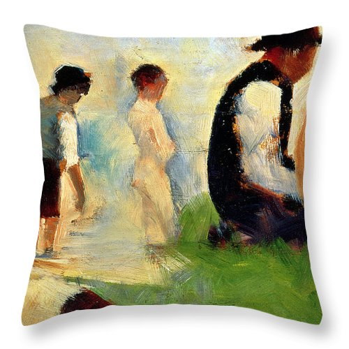 Seurat Throw Pillow featuring the painting Five Male Figures Possible Preparatory Sketch For The ''bathers At Asnieres.'' by Georges Pierre Seurat