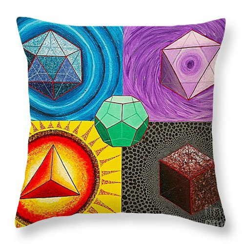 Sacred Geometry Paintings Throw Pillow featuring the painting Five Platonic Solids - Fire by Maya B
