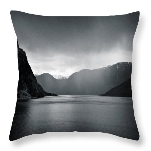 Norway Throw Pillow featuring the photograph Fjord Rain by Dave Bowman