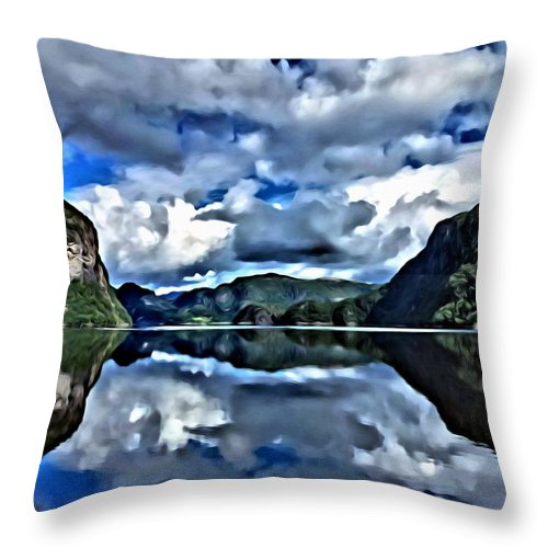 Lanscapes Throw Pillow featuring the painting Fjords Of Norway by Florian Rodarte