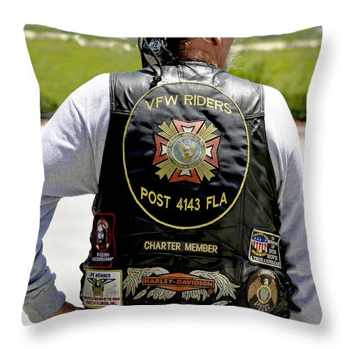 Vertical Throw Pillow featuring the photograph Fla Post 4143 Vfw Rider Color Usa by Sally Rockefeller