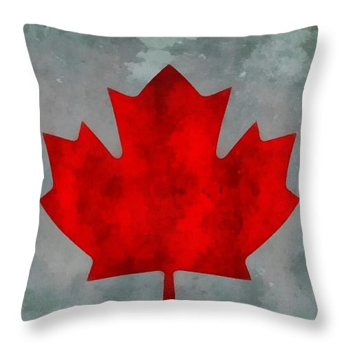 Flag Of Canada Throw Pillow featuring the painting Flag Of Canada by Dan Sproul