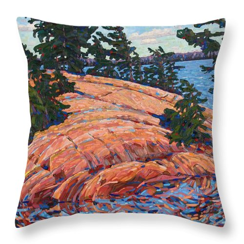 Chadwick Throw Pillow featuring the painting Flagging Pines by Phil Chadwick
