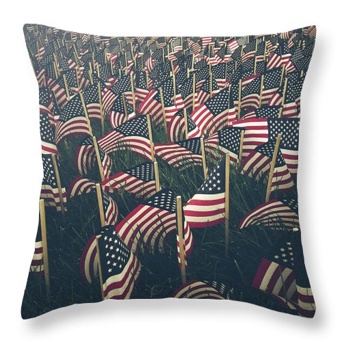 Holiday Throw Pillow featuring the photograph Flags by Fran Polito