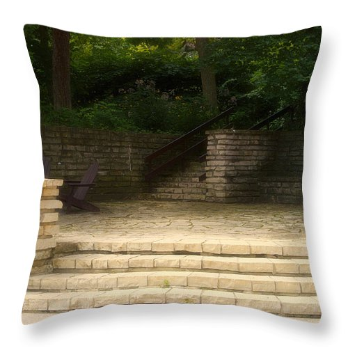 Flagstone Throw Pillow featuring the photograph Flagstone Patio by Thomas Woolworth