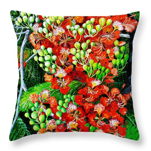 Royal Poincianna Painting Flamboyant Painting Tree Painting Botanical Tree Painting Flower Painting Floral Painting Bloom Flower Red Tree Tropical Paintinggreeting Card Painting Throw Pillow featuring the painting Flamboyant In Bloom by Karin Dawn Kelshall- Best