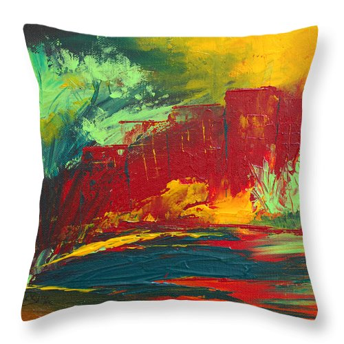 Abstract Art Throw Pillow featuring the painting Flame In The Night by Donna Blackhall