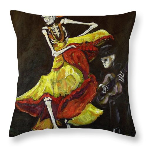 Muertos Throw Pillow featuring the painting Flamenco Vi by Sharon Sieben