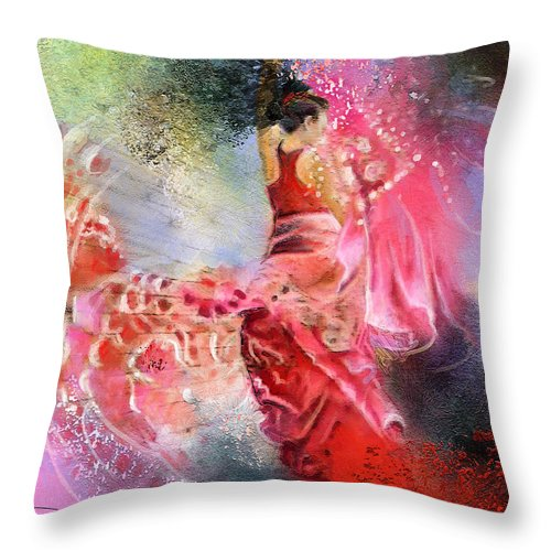 Flamenco Painting Throw Pillow featuring the painting Flamencoscape 13 by Miki De Goodaboom