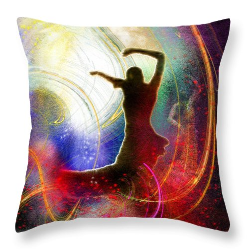 Flamenco Throw Pillow featuring the painting Flamencoscape 16 by Miki De Goodaboom