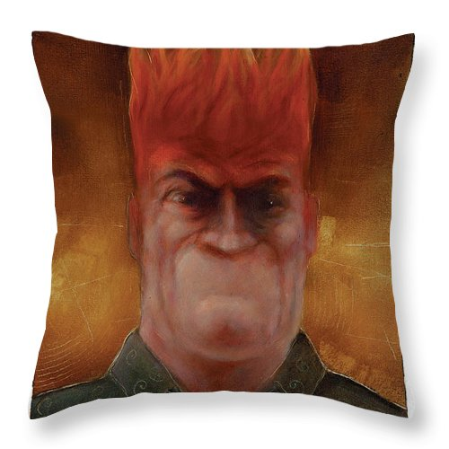 Anger Throw Pillow featuring the painting Flames by Chris Van Es