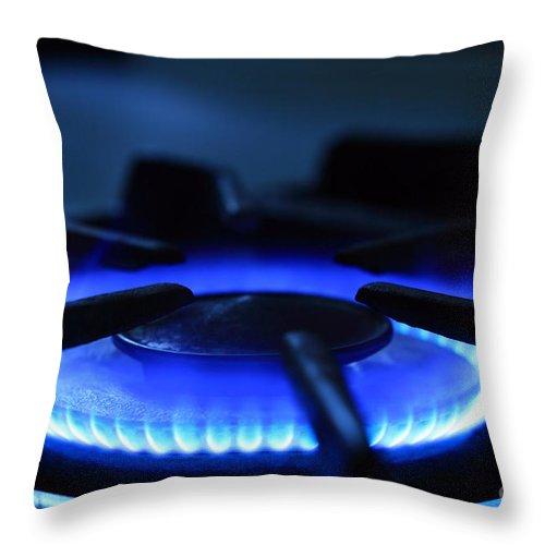 Flame Throw Pillow featuring the photograph Flaming Blue Gas Stove Burner by John Stephens
