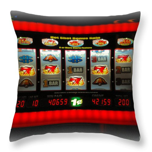 Flame Throw Pillow featuring the photograph Flaming Sevens Slots by Gary Keesler