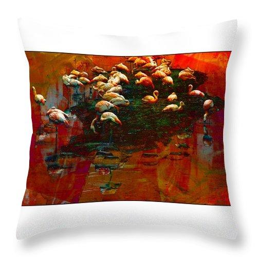Flamingos Throw Pillow featuring the photograph Flamingo Colours by Alice Gipson