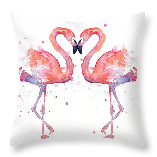 Watercolor Throw Pillow featuring the painting Flamingo Love Watercolor by Olga Shvartsur