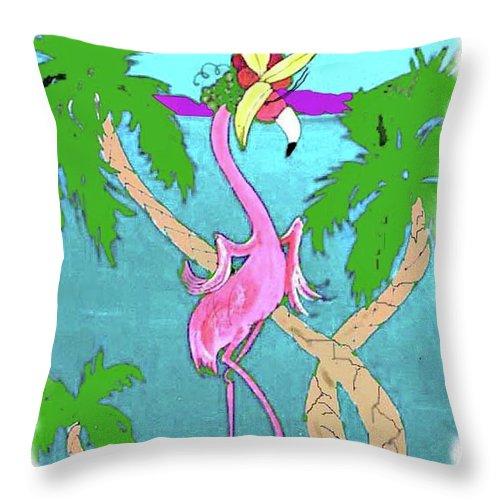 Flamingo Throw Pillow featuring the painting Flamingo Miranda by Lizi Beard-Ward