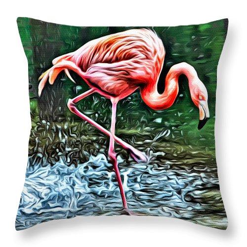 Flamingo Throw Pillow featuring the photograph Flamingo Splash Two by Alice Gipson