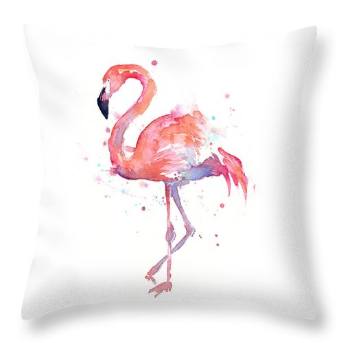 Bird Throw Pillow featuring the painting Flamingo Watercolor by Olga Shvartsur