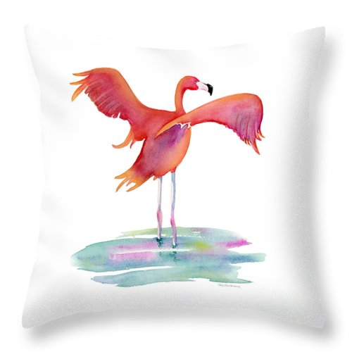 Flamingo Throw Pillow featuring the painting Flamingo Wings by Amy Kirkpatrick