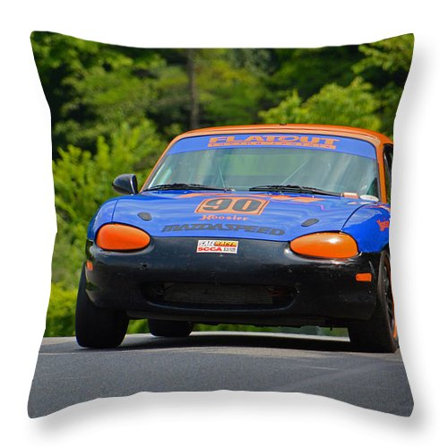 Sports Car Driving Association Throw Pillow featuring the photograph Flatout 90 Mazda by Mike Martin