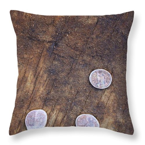 Penny Throw Pillow featuring the photograph Flattened by Elizabeth Cernik