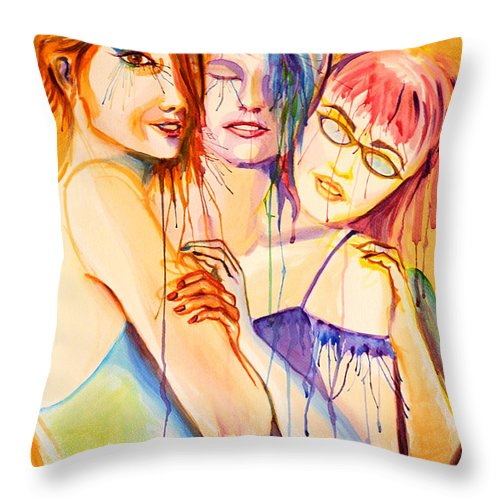 Portraits Throw Pillow featuring the painting Flawless by Angelique Bowman
