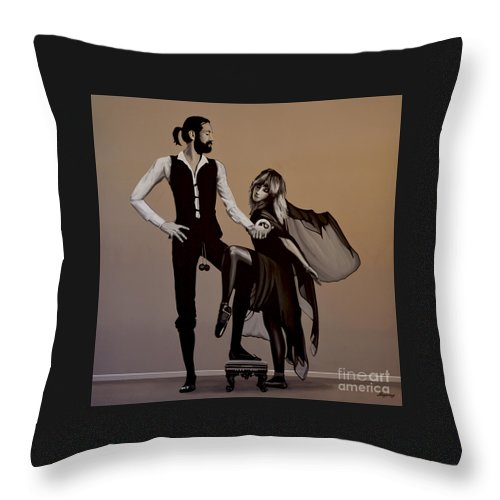 Fleetwood Mac Throw Pillow featuring the painting Fleetwood Mac Rumours by Paul Meijering
