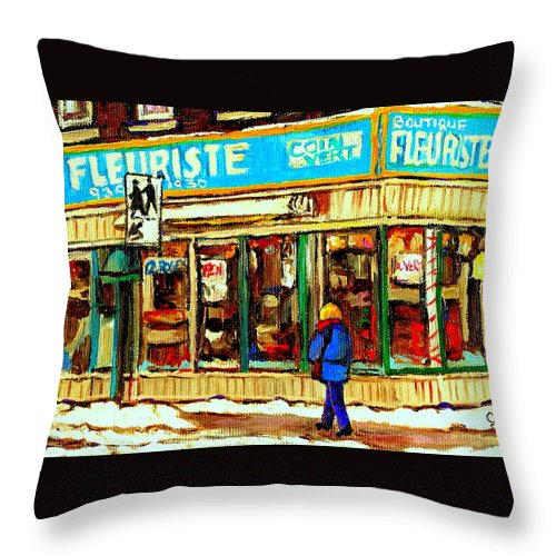 Boutique Fleurist Coin Vert Throw Pillow featuring the painting Fleuriste Notre Dame Flower Shop Paintings Carole Spandau Winter Scenes by Carole Spandau