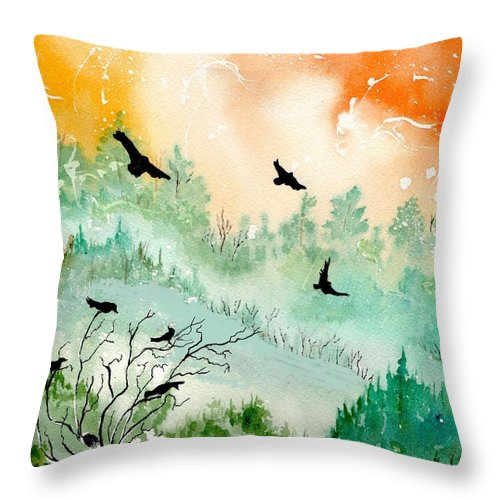 Watercolor Throw Pillow featuring the painting Flight by Brenda Owen