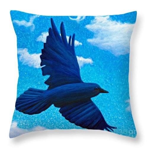 Raven Throw Pillow featuring the painting Flight by Brian Commerford