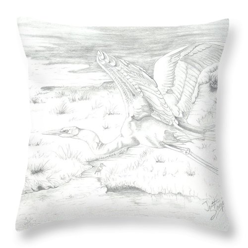 Birds Of Prey Throw Pillow featuring the drawing Flight Of Grace by Joette Snyder