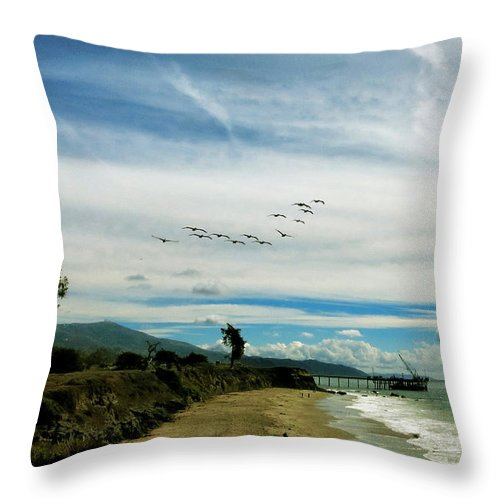 Pier Throw Pillow featuring the photograph Flight Of Pelicans by John A Royston