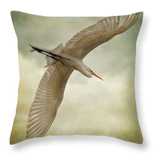 Egret Throw Pillow featuring the photograph Flight Of The Egret by Priscilla Burgers