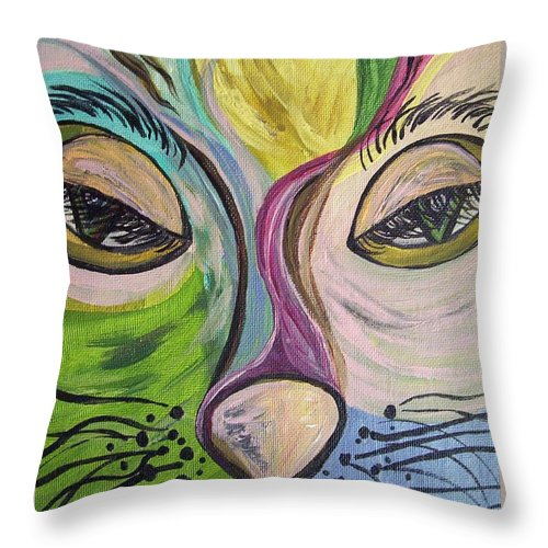 Cute Throw Pillow featuring the painting Flirty Feline ... Cat Eyes by Eloise Schneider Mote
